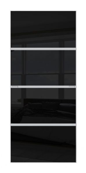 4 PANEL MINIMALIST DOOR- BLACK GLASS